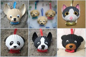 Muzzles of animals from shells
