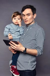 Ben Machell with his son